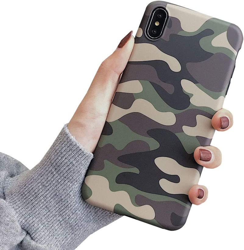 ICI-Rencontrer Super Creative Camouflage Green Pattern Case Compatible with iPhone Xs Max Fashion Woodland Dazzle Camo Case Flexible TPU Skin Shockproff Anti-Scratch Case