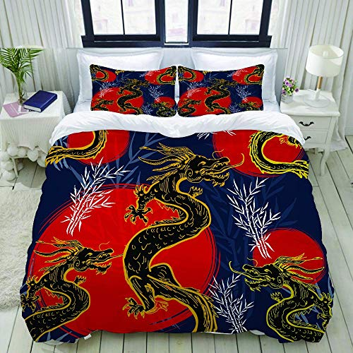 Nonun Duvet Cover,Dragons Asia Dragons Pattern,Bedding Set Ultra Comfy Lightweight Luxury Polyster Quilt Cover Sets (3pcs)