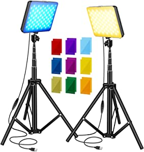 Sutefoto 2 Packs USB LED Video Light Kits for Continuous Table Top Studio Shooting Photography Lighting(2 Adjustable Tripod Stand,2X9 Color Filters,3200-5500K,10%-100%)