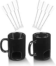 CHEFHQ Fondue Mug Set - Personal Mini Fondue Pots - Chocolate and Cheese Fondue Maker Kit - 2 Ceramic Fondu Mugs and 8 Forks Accessories - Individual Butter Melter Cup - Small Queso Warmer Pot