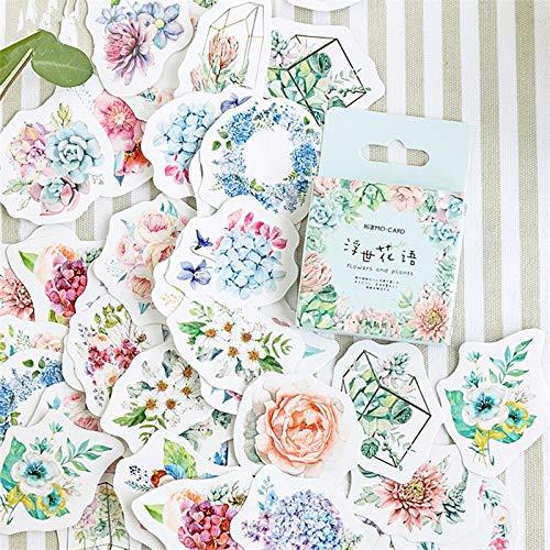 BLOUR Niedliche koreanische japanische Zeitschrift Papier Tagebuch Blumenaufkleber Scrapbooking Briefpapier Lehrer Schulbedarf46 Stück/Pack