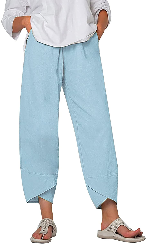 Smooto Women's Capri Pants Plus Size Linen Harem Pants Summer Palazzo Pants