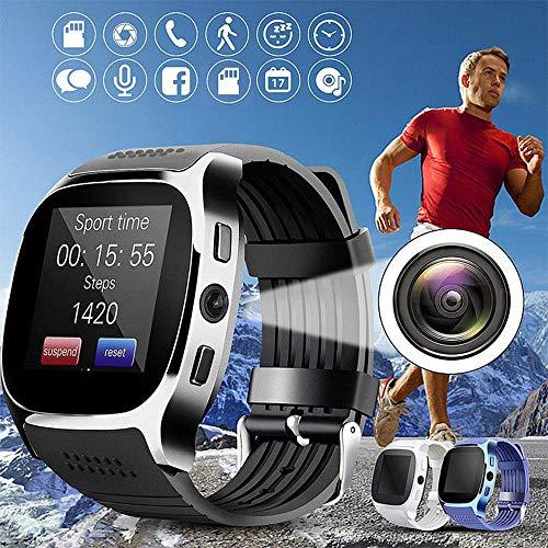T8 Bluetooth Inteligente watchwith cámara, SIM, Tarjeta del TF, podómetro, Facebook, Whatsapp Apoyo, monitoreo del sueño, Vigilancia de la Salud, Deporte SmartWatch para Android iOS,Azul