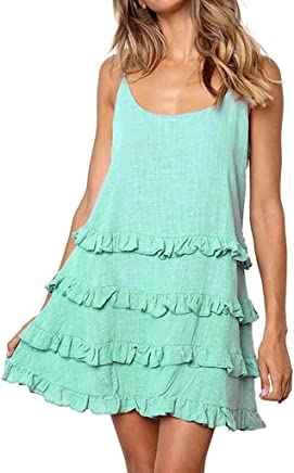 Ghazzi Women Dresses Casual Soild Color Sleeveless Mini Dress Summer Ruffles Halter Beach Sundress Party Swing Dress