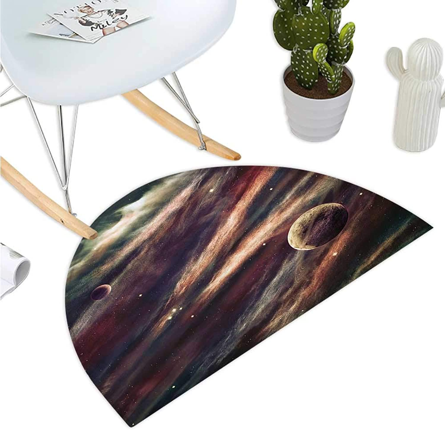 Outer Space Semicircular Cushion Planets Over Nebula Gas Cloud Space Mystical Galaxy Star Illustration Bathroom Mat H 35.4  xD 53.1  Dried pink Ivory