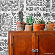 Tribal Tile Stencil - African Mudcloth Wallpaper Design for Bohemian Wall Decor - Geometric Boho Wall Art - Modern Stencil Pattern for Floors