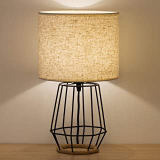 HAITRAL Bedside Table Lamp - Farmhouse Table Lamp Basket Cage Style Chrome Metal Base with Linen Fabric Shade Lamp for Living Room, Bedroom - Black (HT-TH59-02)