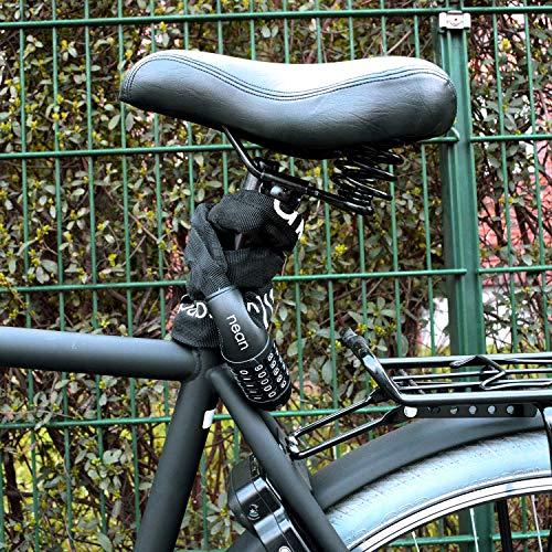 nean Fahrrad-Ketten-Schloss, Zahlen-Code-Kombination-Schloss, Stahlkettenglieder, Army, 6 mm x 900 mm - 2