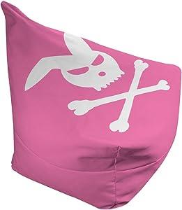 "Choosy Pink Rabbit Crossbones Bean Bag Chair (Large - 38""L x 42""W x 29""H)"