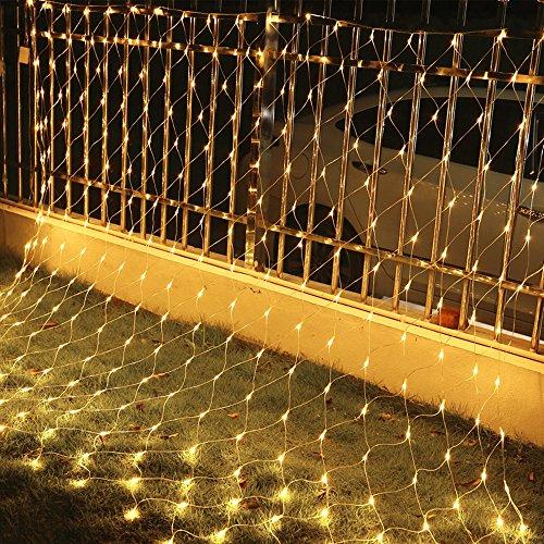 VINGO 4.5 * 1.6M LED Lichternetz Lichterkette mit 204 LEDs Weihnachten mit Steuerbox Netz-ineinander greifen