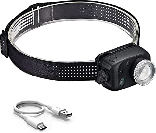Iksvmsis Zoomable Lampe Frontale,Lampe Frontale LED Rechargeable 6-8 Heures Batterie 1800mAh Rechargeable USB,Lampe Fronta...