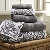 Amrapur Overseas | Trefoil Filigree 6 Piece Reversible Yarn Dyed Jacquard Towel Set (Platinum)