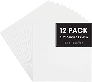 Americanflat Artists Canvas Panel, 8x8 inch, White (12 Pack)