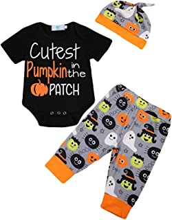 My First Halloween Newborn Baby Girl Boy Outfits Pumpkin Romper Bodysuit Tops Pants Hat Clothes Set …