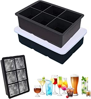 Ice Cube Tray, Silicone Large Square Ice Cube Maker with Removable Lid for Drinks, Whiskey, Cocktails, Beverage, Beer, Jui...