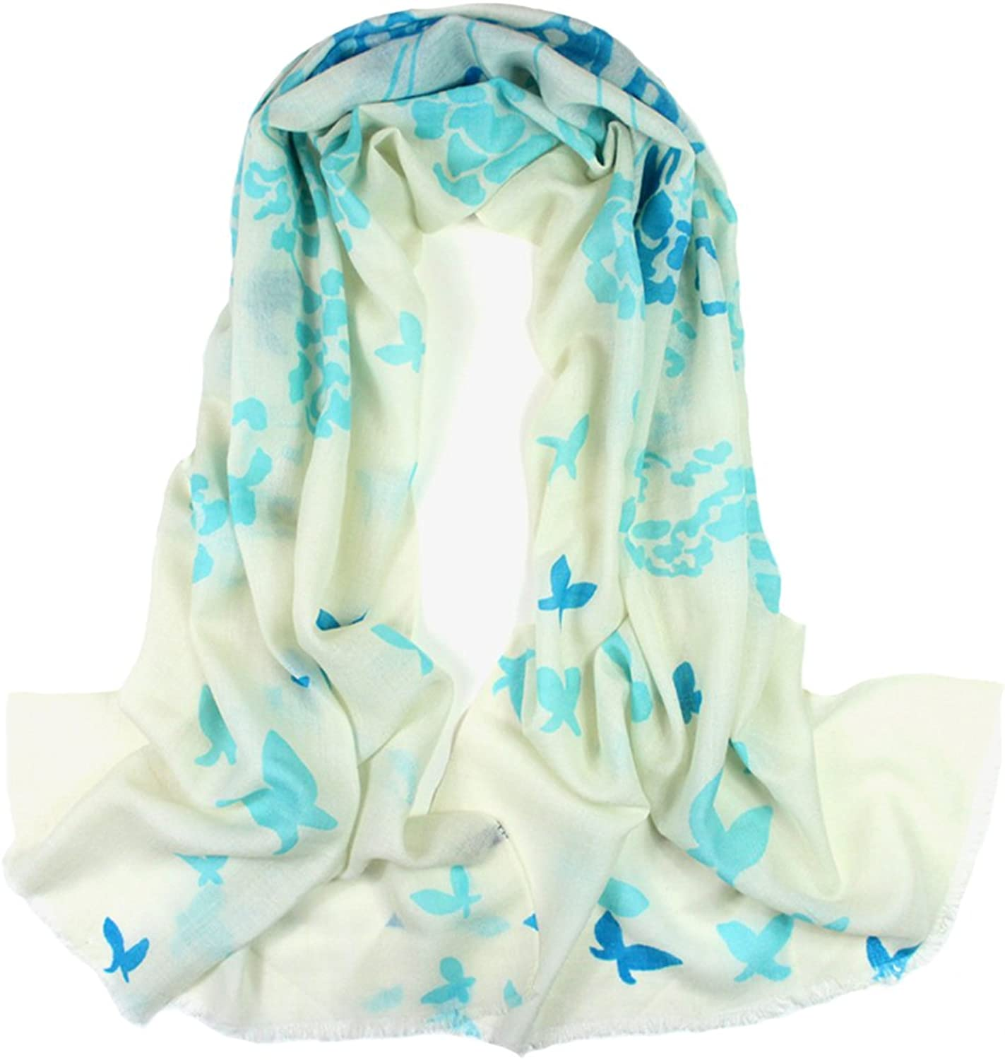 Dahlia Women's 100% Merino Wool Pashmina Scarf  Butterfly and Flower