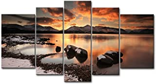Canvas Print Wall Art Painting For Home Decor Mountain Lake Winter Evening Rock Ice Beach Snow 5 Pieces Panel Pictures Stretched And Framed Artwork Oil The Picture Decoration Landscape Photo Prints