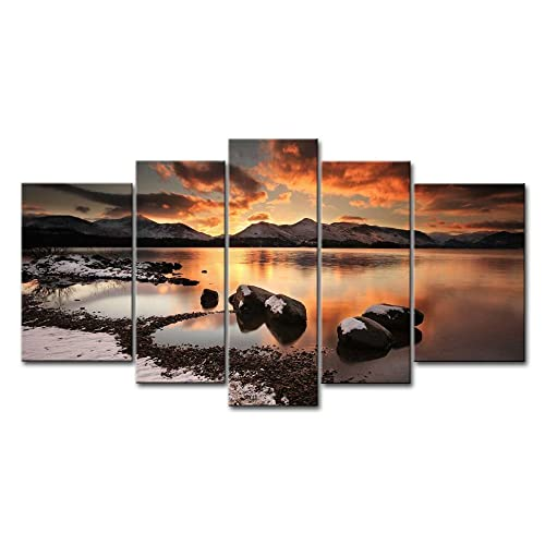 5 Piece Wall Art Painting Mountain Lake On A Winter Evening Rock Ice Beach Snow Mountain Prints On Canvas The Picture Landscape Pictures Oil For Home Modern Decoration Print Decor For Living Room