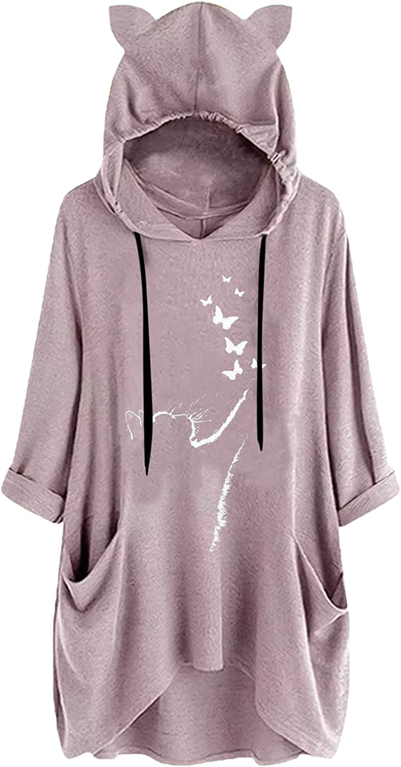 Plus Size Hoodie for Women,Oversized Cat Ears Casual Sweatshirt Loose Drawstring Batwing Sleeve Baggy Tops with Pockets