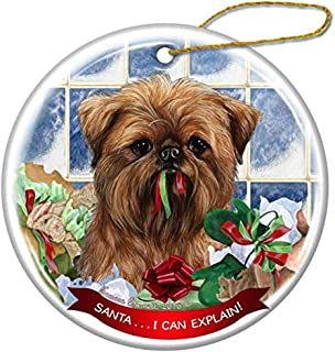Cheyan Brussels Griffon Dog Porcelain Hanging Ornament Pet Gift Santa I Can Explain for Christmas Tree and Year Round