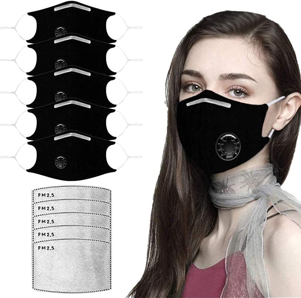 Dheva Adult Great interest 5PC Face Bandanas Large-scale sale Breathing Ear Adjustable with Loop
