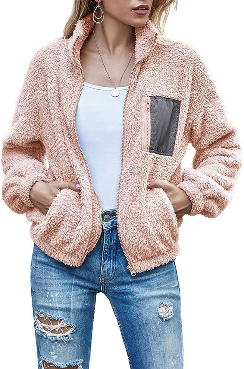 Ma.Lina.Ann Women's Sherpa Jacket Long Sleeve Faux Fur Lapel Coat Zip Up Pockets Jackets Fall Winter Outwear