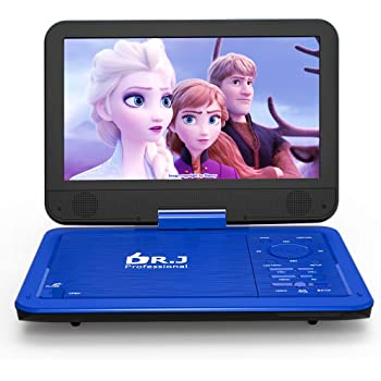 "DR. J 12.5"" Portable Car headrest Video Player, Region-Free Portable DVD Player 10.5"" HD Swivel Screen SYNC TV Remote Control Operate, Rechargeable Battery, AV Cable Car Charger"