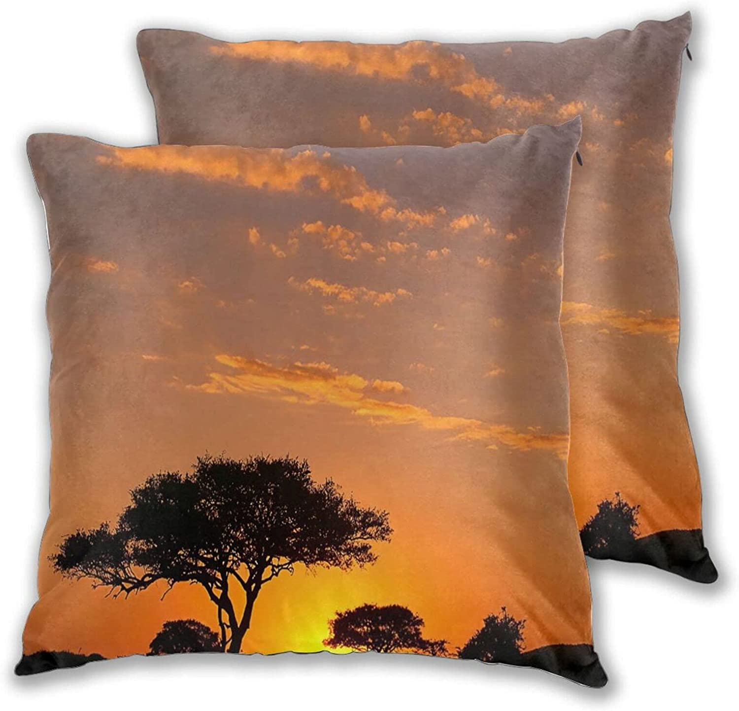 NANITHG Pack of 2 Africa Acacia Modern Landscape half Sun Nature Tree Easy-to-use