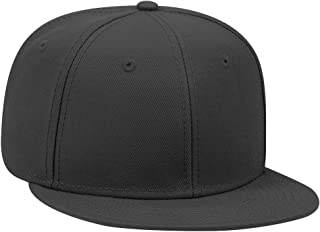Adjustable Blank 6 Panel Medium Profile Wool Blend Twill Flat Visor Snapback Hat (One Size Fits Most)