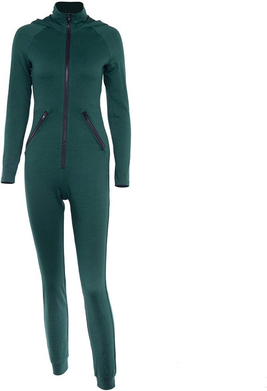 Autumn Winter Women Workout Tracksuit Jumpsuit Female Sportswear Zippers Long Sleeve Hooded Bodycon Rompers
