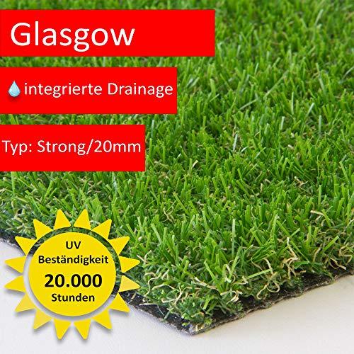 Steffensmeier Kunstrasen Rasenteppich Glasgow Meterware | wasserdurchlässig UV-Garantie für Balkon, Terrasse, Garten | Grün, Größe: 200x100 cm