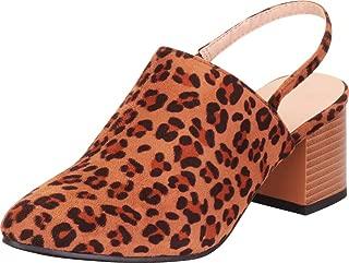 Cambridge Select Women's Slingback Chunky Block Mid Heel Pointed Toe Mule