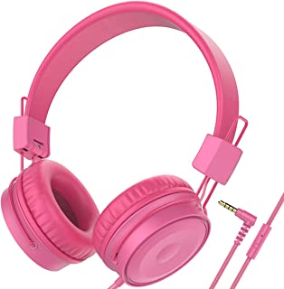 Baseman On Ear Headphones with Mic, Wired Head Phones for Laptops Computer Cellphone Tablet Stereo Bass Earphones with 3.5mm Jack Cord and Microphone for Adults Kids Pink