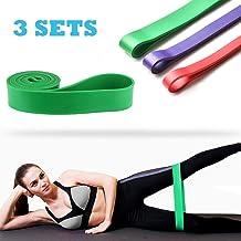 Odoland Bandas de resistencia elástica con 3 Loop Bands, Elastic Fitness Elastics en Caucho Natural, Elastic Fitness Bands para Estiramiento, Terapia, Pilates