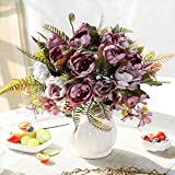 LESING Artificial Peony Bouquets with Ceramic Vase Silk Flowers for Wedding Home Table Centerpiece Decoration (Purple)