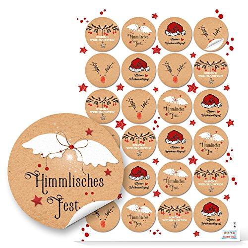 Logbuch-Verlag 48 Weihnachtsaufkleber rund rot weiß natur schwarz Geschenk-Aufkleber Verpackung Weihnachtsgeschenke Sticker Etiketten 4 cm Weihnachtsverpackung