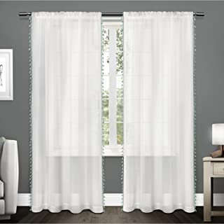 Exclusive Home Curtains EH8075-04 2-84R Tassels Embellished Sheer Rod Pocket Curtain Panel Pair, 54x84, Seafoam, 2 Piece
