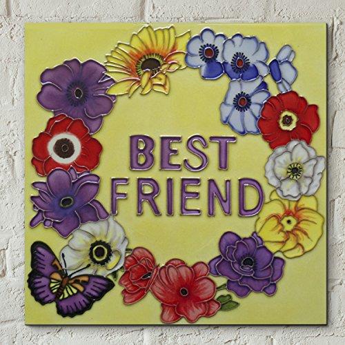 Fiesta Studios Beste vriend 8x8 decoratieve keramische foto tegel Gift Plaque Officieel gelicenseerd kunstwerk