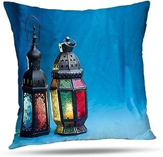 TABUE 18X18inch Fundas de Almohada, con Linterna Musulmana Brillante Cyan Kareem Islam Luz Azul Cultura Antigua Funda de Almohada de Doble Cara