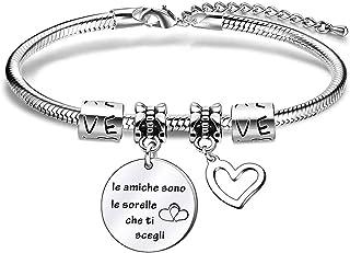 Regalo del miglior amico sorelle, braccialetto bracciale dell'amicizia con serpente d'argento per donna ragazza, regalo di...