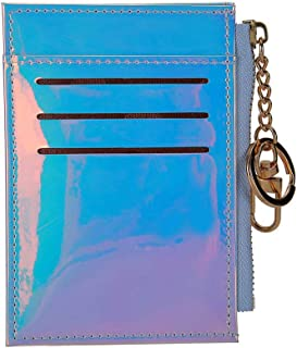 Fashion Shining Mini Wallets Purse Credit Card Holder Card Case with Key Ring (Silver)