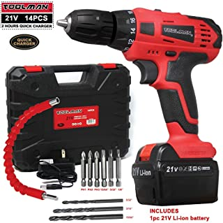 Lion Tools ZTP009 Toolman Led Lithium-ion Cordless Drill Kit 21V with Drill Set 14 pcs for Heavy Duty works with DeWalt Makita Ryobi Accessories