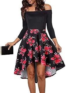 Clearance Sale Women Fashion Slash Neck Flower Print Short Dress Knee-Length Dress