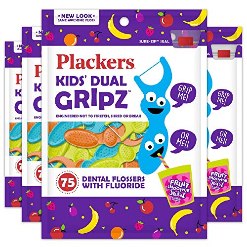 Plackers Kids Dental Floss Picks 75, Multicolor, Fruit Smoothie Swirl, Original Version, 300 Count (Pack of 4)