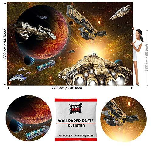 GREAT ART fotobehang fotobehang Galaxy Adventure 336 x 238 cm - 8 Teile + Kleister Weltraumschiffe