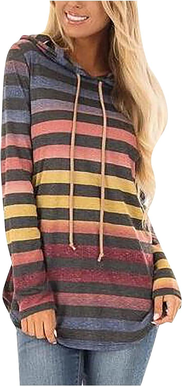 Women Pullover Hoodie Autumn Gradient Stripe Printing Tops Drawstring Long Sleeve Loose Casual Sweatshirts