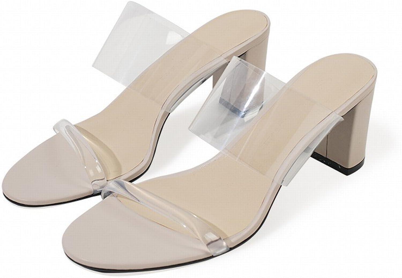 SED Einfaches Aussehen Lang Dünn Transparent Dick mit mit Hochhackigen Mulei Sandalen Hausschuhe  Direkt ab Werk und schnelle Lieferung