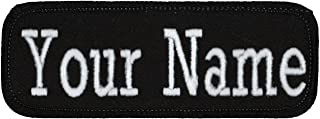 """Name Tag Personalized and Embroidered 4"""" Wide x 1.5"""" Tall in Multiple Colors and Styles, Black/Black, Iron On"""