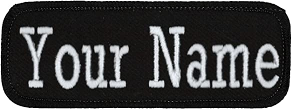 "Name Tag Personalized and Embroidered 4"" Wide x 1.5"" Tall in Multiple Colors and Styles, Black/Black, Iron On"
