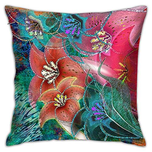 LiBei Funda de Cojín,Fondo Floral Tropical Multicolor,Funda de Almohada Cuadrado para Sofá Coche Cama Sillas Decoración para Hogar(50 x 50cm)